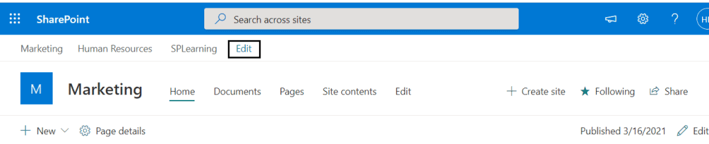 sharepoint hub site navigation