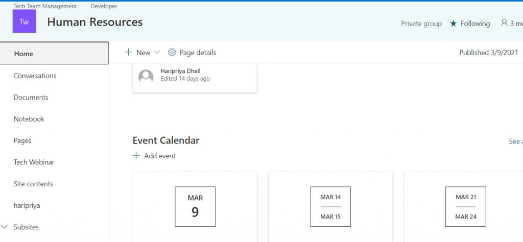 sharepoint calendar app