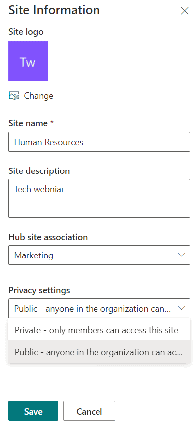 convert sharePoint site from private to public