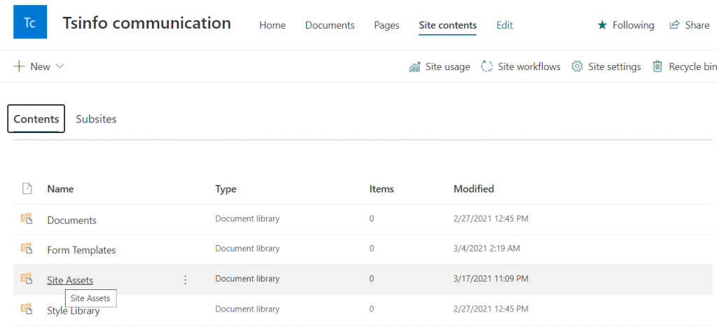 site assets library in SharePoint