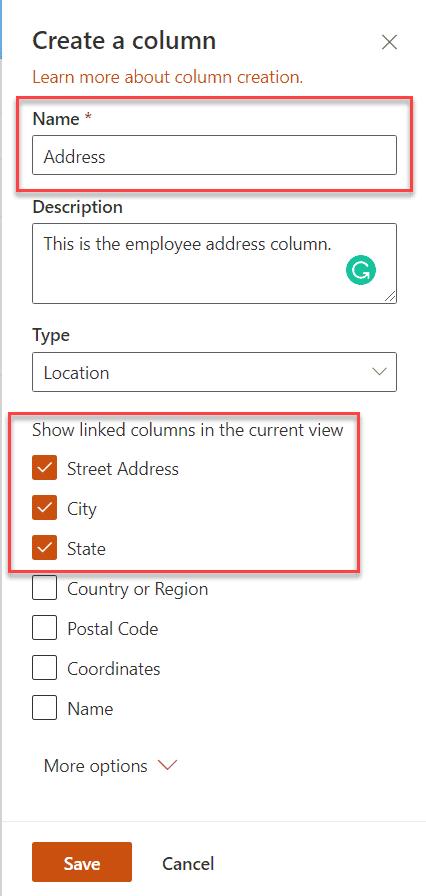 Create location column in SharePoint Online list