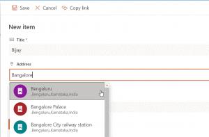 location column in sharepoint online list
