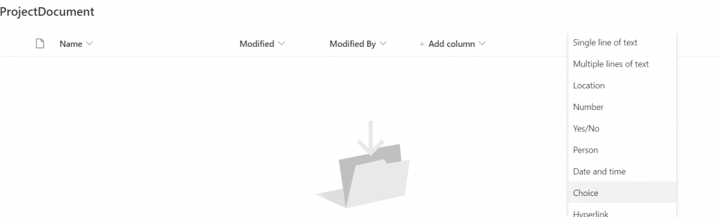 Add a choice column in Document Library