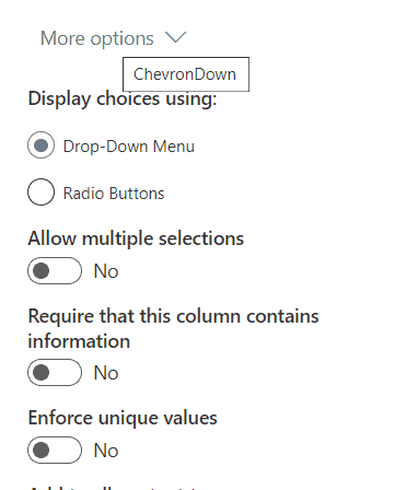 creating a choice column in SharePoint document library