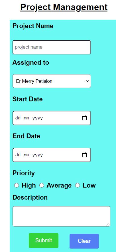 Project details html form using html and css