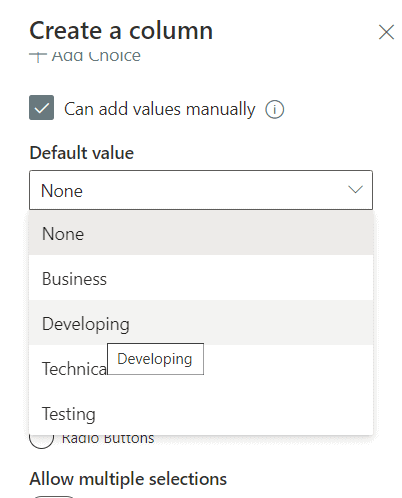creating a choice column in SharePoint Online document library