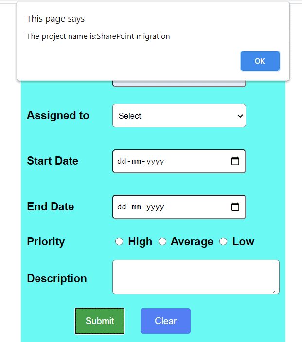 Get HTML control values using JavaScript