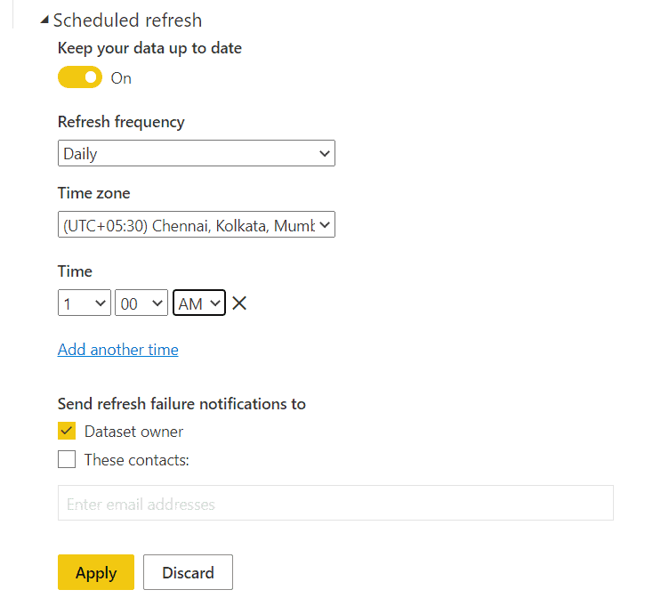 power bi auto refresh data from excel