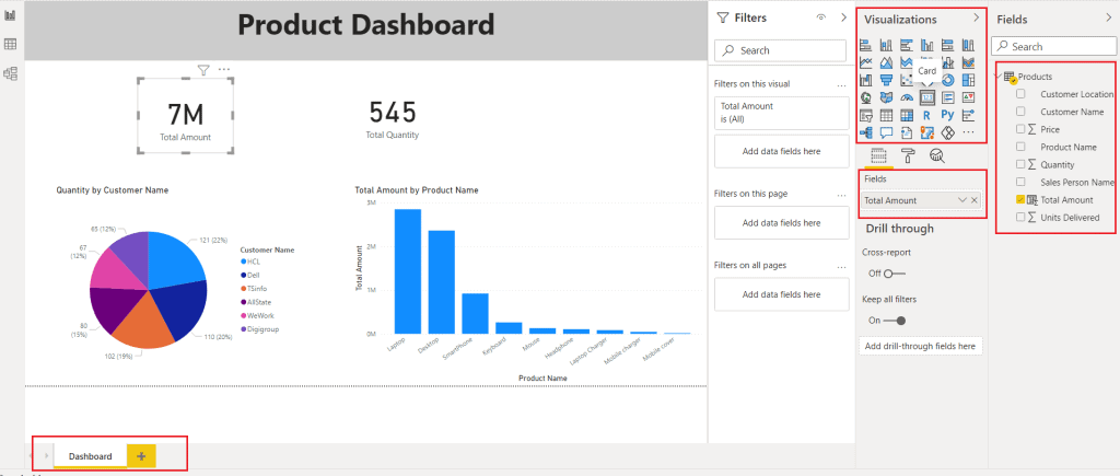 How do you make a power BI dashboard