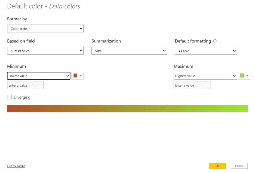 default data color in power bi bar chart