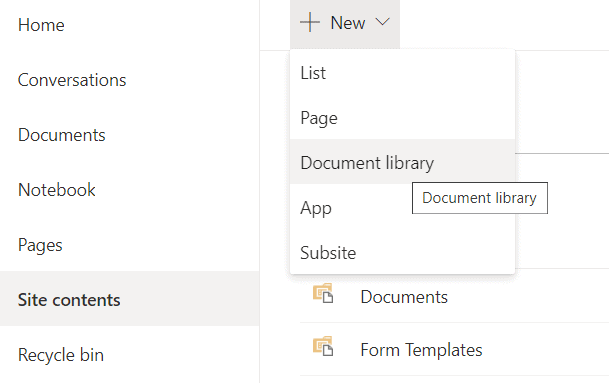 creating a new document library in SharePoint Online