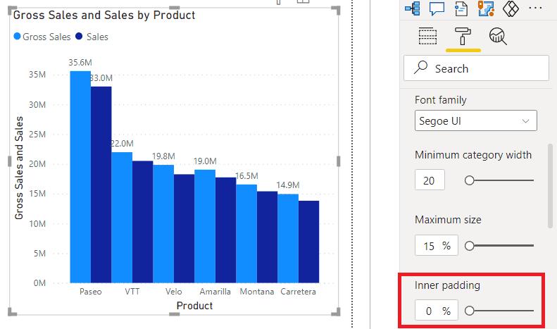 Power BI Clustered Column Chart space between bars