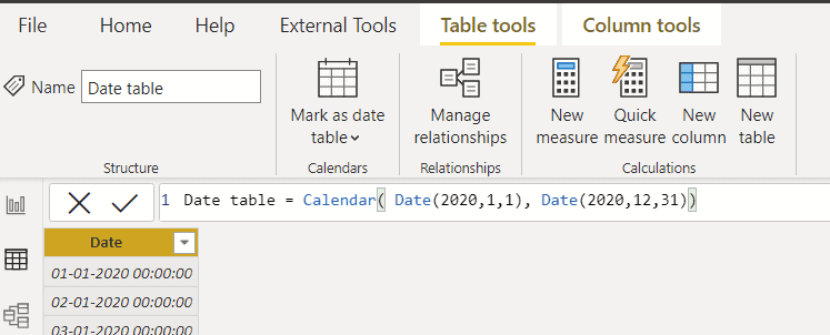Power bi creates a date table with month and year