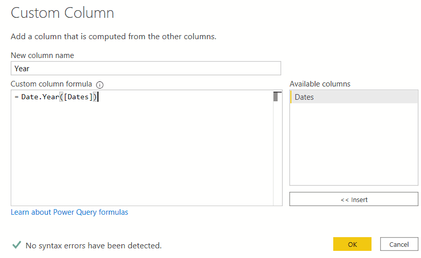 how Power bi creates a date table in the power query