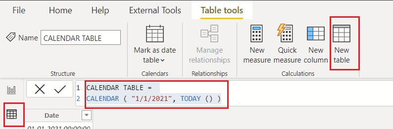Power bi create date table until today