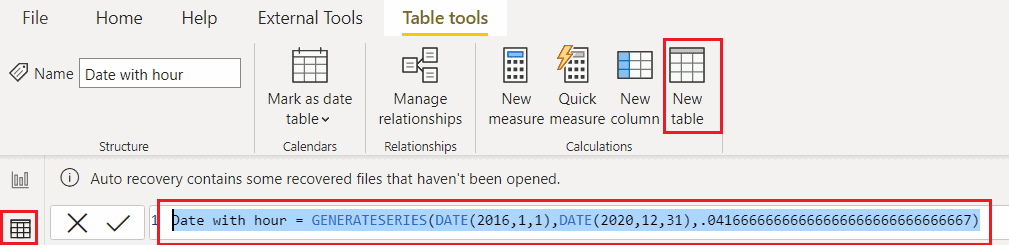 Power bi create date table with hours