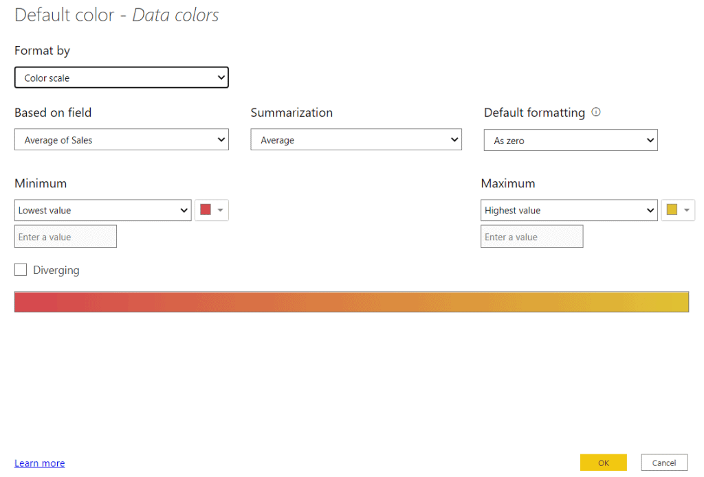 default data color in power bi
