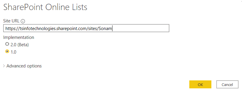 connect SharePoint list to Power BI by Site URL
