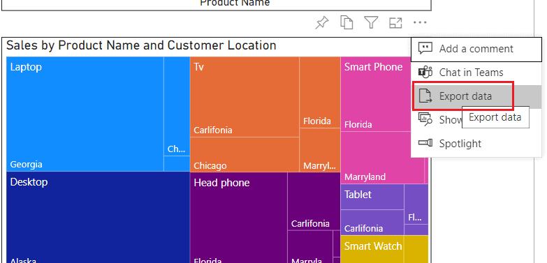 Export data from power bi dashboard