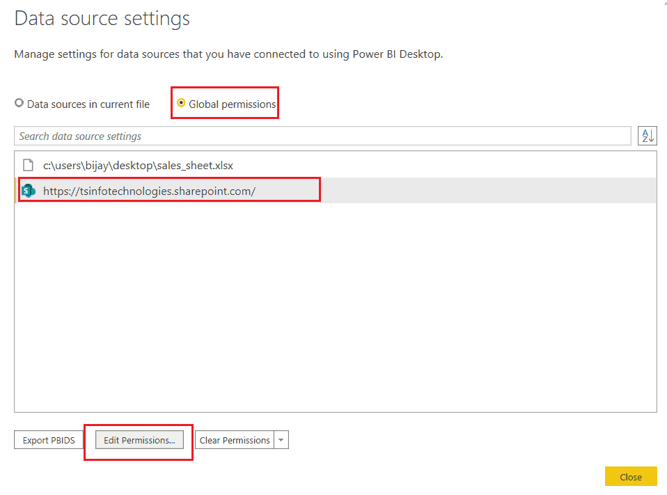 Power bi desktop change data source credentials