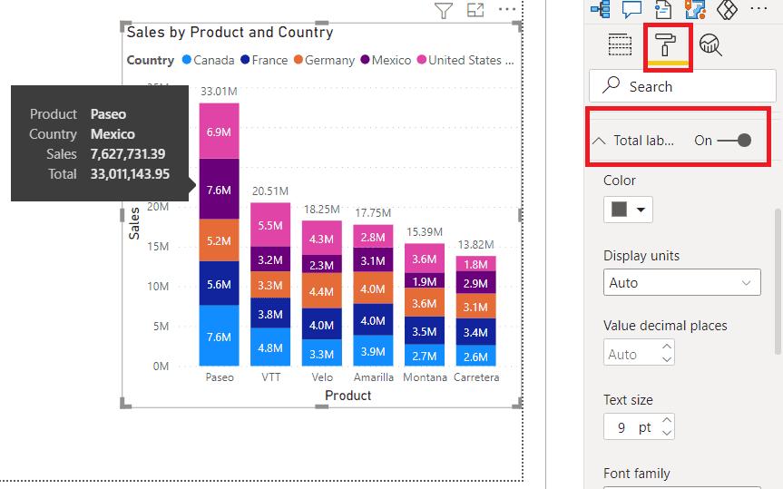 power bi stacked column chart total