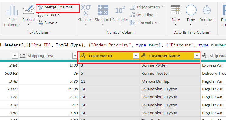 Microsoft Power bi combine multiple columns into one