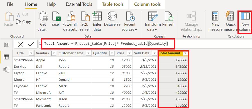 Power bi calculated column