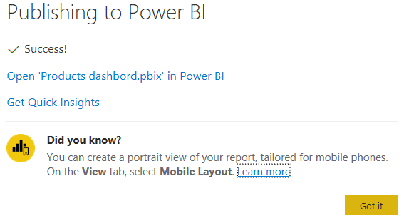 How to Publish to Power BI with quick insight