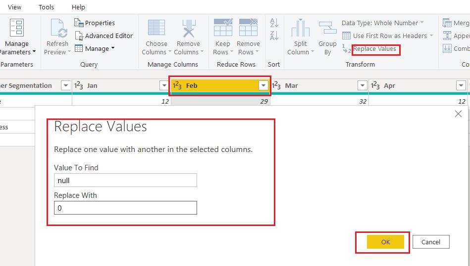 Replace value power bi