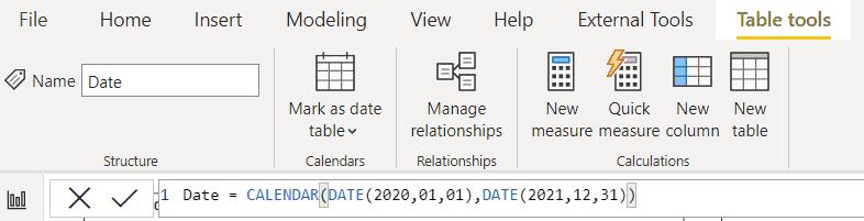 Power bi creates date table Dax