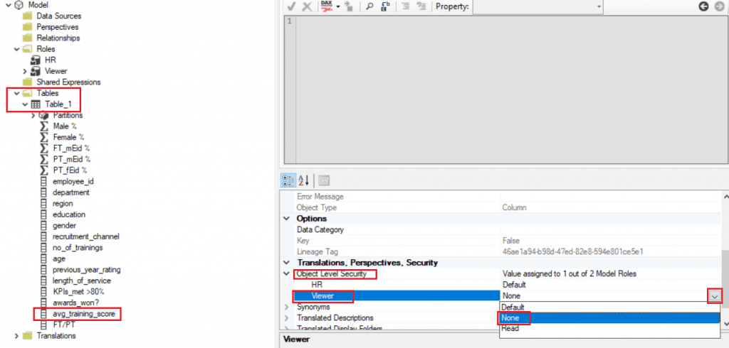 How to set column-level security in power bi desktop by step