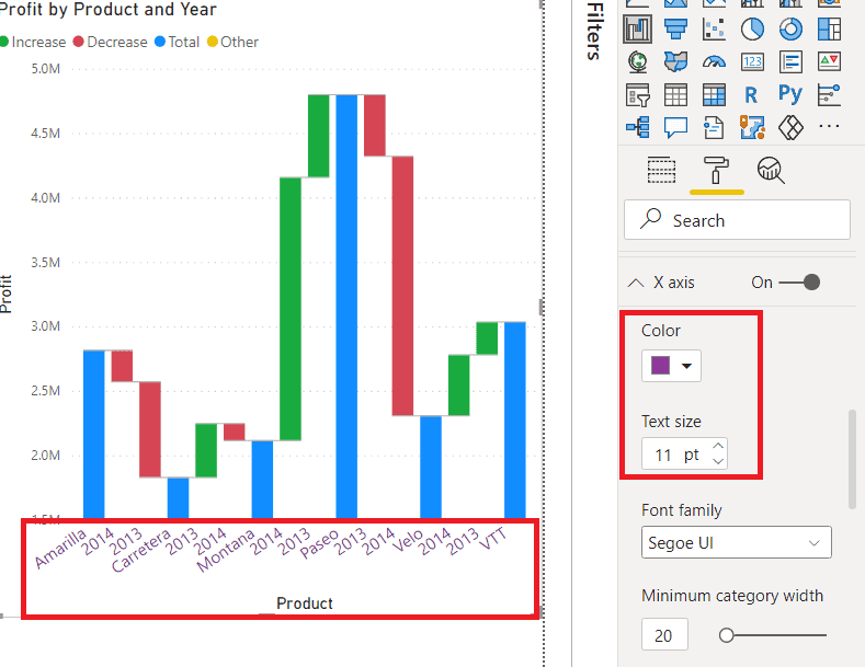 How to do x-axis format on Power BI Waterfall chart