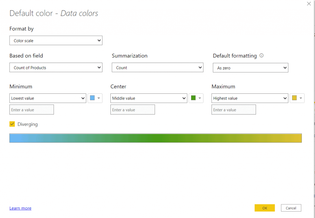 How to do conditional formatting on Power BI Data Colors