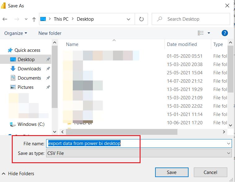 Power BI Export Data