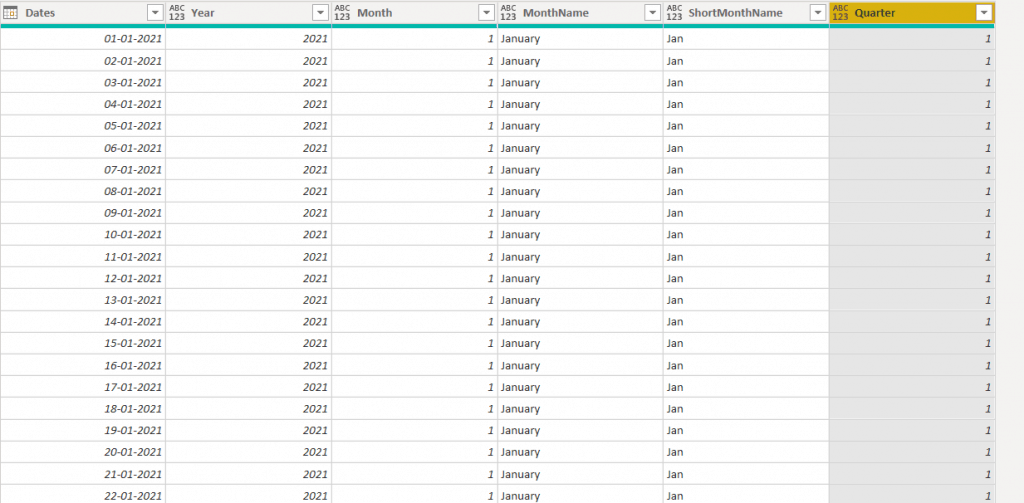 microsoft  Power bi creates a date table in the power query