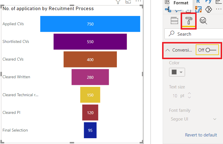 power bi funnel chart remove percentage