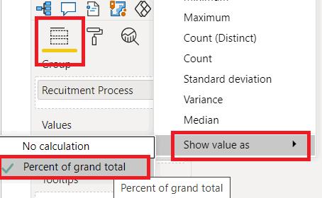 power bi funnel chart show percentage