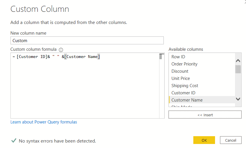 Microsoft Power bi custom column merge two columns