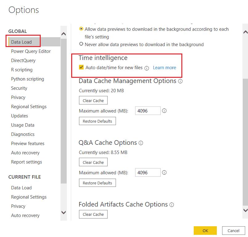 How to configure auto date/time in power bi desktop?