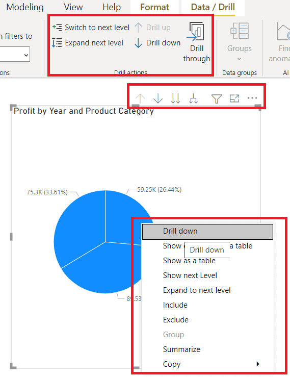 How to do down and Drill up On the Power BI Pie chart in various ways?