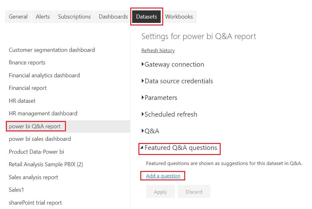 Microsoft Power bi q&a suggestions in power bi service