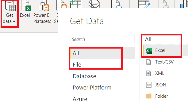 Get Data from various data sources