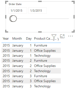 Power BI Date range slicer on Power BI Desktop