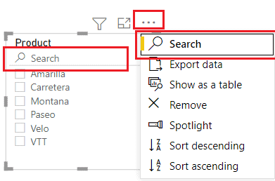 Power BI slicer add the search box