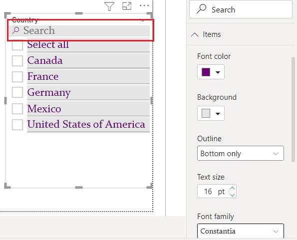Power BI slicer search font color