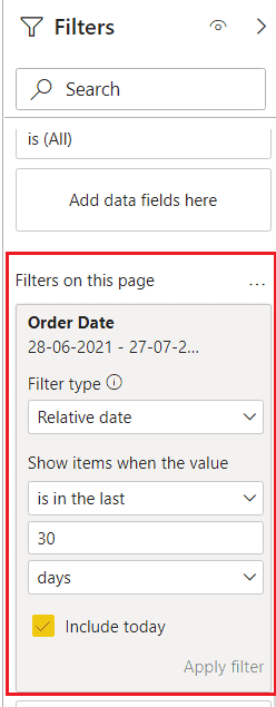 How to create power bi date filter