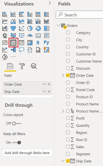 How power bi one slicer for multiple date columns