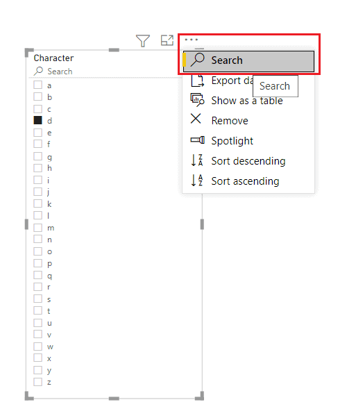 power bi slicer search contains