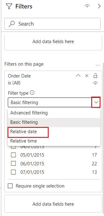 Relative date range filter