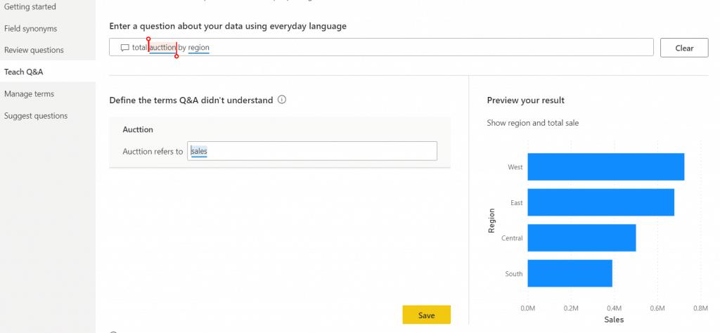 Microsoft Power bi q&a feature